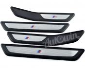 BMW 7 SERIES F01/F01 LCI GENUINE M /// SET OF ENTRANCE COVER SILL STRIPES NEW