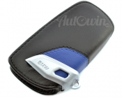 BMW Genuine Leather Key Case Fob Sport Black & Blue